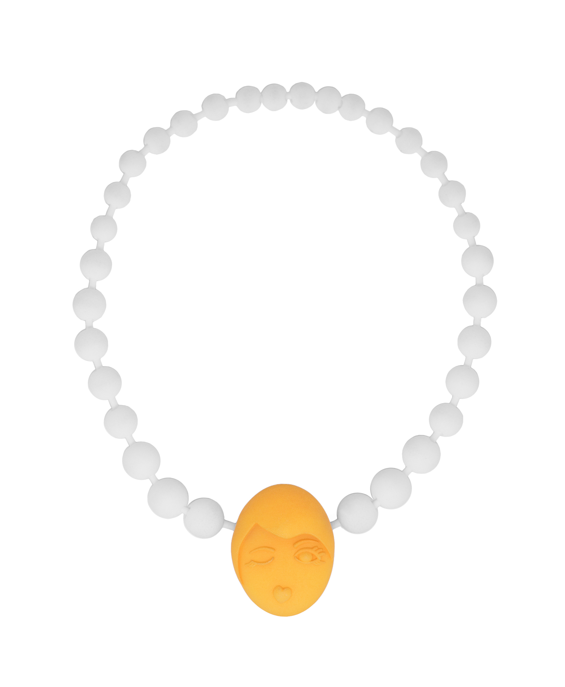 funny orange emotions pearl necklace